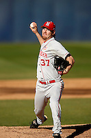Ryan Hander #37 of the Nebraska Cornhuskers pitches against the Cal State Fullerton Titans at Goodwin Field on February 16, 2013 in Fullerton, California. Cal State Fullerton defeated Nebraska 10-5. (Larry Goren/Four Seam Images)