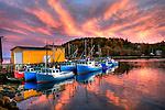 Sunset, fishing boats at Nova Scotia, Canada
