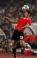 Egypt's Islam Ramadan (12) makes a header save from the out line against Costa Rica during the FIFA Under 20 World Cup Round of 16 match between Egypt and Costa Rica at the Cairo International Stadium on October 06, 2009 in Cairo, Egypt.