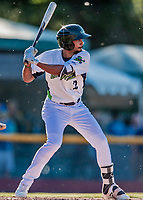 19 June 2018: Vermont Lake Monsters infielder Jesus Lage in action against the Connecticut Tigers at Centennial Field in Burlington, Vermont. The Lake Monsters defeated the Tigers 5-4 in the conclusion of a rain-postponed Lake Monsters Opening Day game started June 18. Mandatory Credit: Ed Wolfstein Photo *** RAW (NEF) Image File Available ***