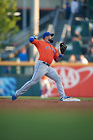 Syracuse Mets second baseman Luis Guillorme (13) throws to first base during an International League game against the Buffalo Bisons on June 29, 2019 at Sahlen Field in Buffalo, New York.  Buffalo defeated Syracuse 9-3.  (Mike Janes/Four Seam Images)