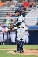 Princeton Rays catcher Ronaldo Hernandez (24) on defense against the Danville Braves at American Legion Post 325 Field on June 25, 2017 in Danville, Virginia.  The Braves walked-off the Rays 7-6 in 11 innings.  (Brian Westerholt/Four Seam Images)