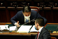 The Italian Premier Giuseppe Conte and the Minister of Foreign Affairs Luigi Di Maio during the information at the Lower Chamber about the Government crisis..<br /> Rome(Italy), January 18th 2021<br /> Photo Samantha Zucchi/Insidefoto