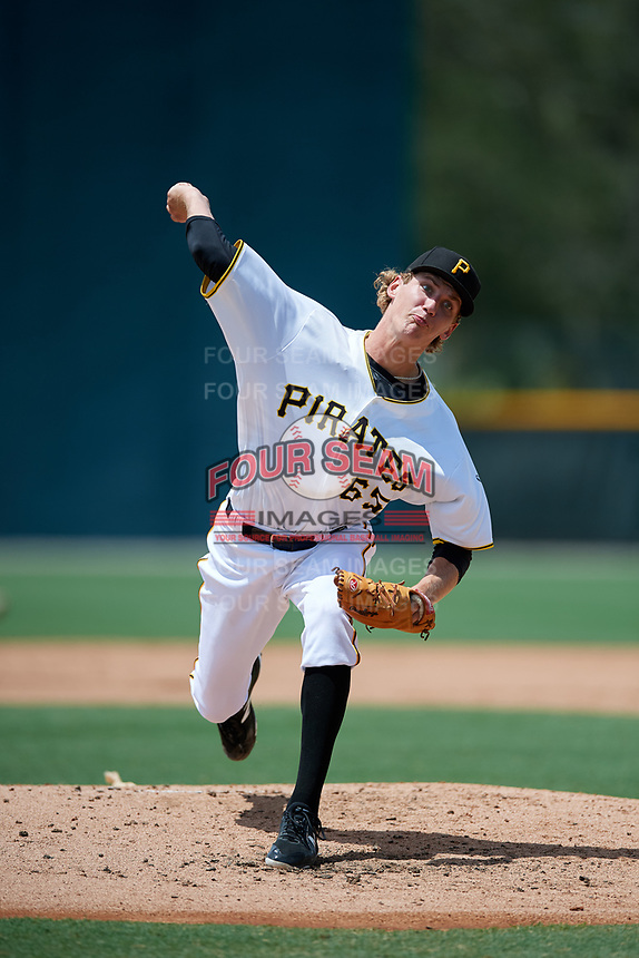 GCL Pirates starting pitcher Braxton Ashcraft (65) delivers a pitch during a game against the GCL Tigers West on August 13, 2018 at Pirate City Complex in Bradenton, Florida.  GCL Tigers West defeated GCL Pirates 5-1.  (Mike Janes/Four Seam Images)