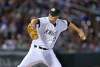 Charlotte Knights relief pitcher Jarrett Casey (13) in action against the Chicago White Sox at BB&T Ballpark on April 3, 2015 in Charlotte, North Carolina.  The Knights defeated the White Sox 10-2.  (Brian Westerholt/Four Seam Images)