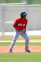 Boston Red Sox infielder Wendell Rijo #20 during a minor league Spring Training game against the Minnesota Twins at JetBlue Park Training Complex on March 27, 2013 in Fort Myers, Florida.  (Mike Janes/Four Seam Images)