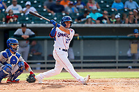 Tennessee Smokies shortstop Carlos Sepulveda (27) at bat against the Rocket City Trash Pandas at Smokies Stadium on July 2, 2021, in Kodak, Tennessee. (Danny Parker/Four Seam Images)