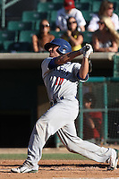 Max Stassi #10 of the Stockton Ports bats against the Lancaster JetHawks at Clear Channel Stadium on July 8, 2012 in Lancaster, California. Lancaster defeated Stockton 10-8. (Larry Goren/Four Seam Images)
