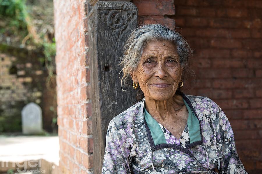 Elderly Woman at the Entrance of Bhaktapur, Nepal