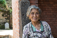 Elderly Woman at the Entrance of Bhaktapur, Nepal