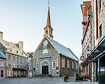 The church of Notre-Dame-des-Victoires, here seen at sunrise. Located in the Place Royale, Quebec City, the church is one of the oldest in North America. Construction commenced in 1687 and was completed in 1723.