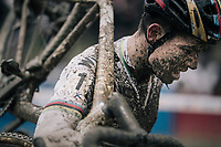 CX world champion Wout Van Aert (BEL/Crelan-Charles) having to let van der Poel go and follow his own tempo for this race<br /> <br /> Elite Men's Race<br /> GP Sven Nys / Belgium 2018