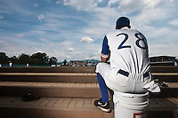 25 july 2010: Pierrick Le Mestre is seen in the dugout prior to France 6-1 victory over Czech Republic, in day 3 of the 2010 European Championship Seniors, in Neuenburg, Germany.