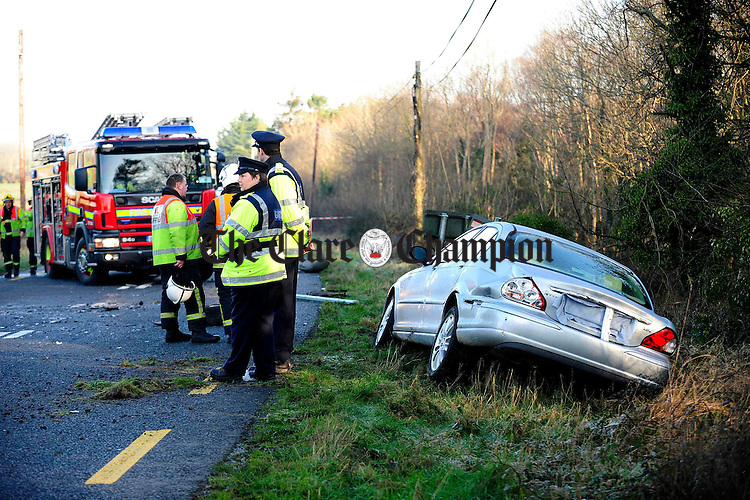 The scene of a fatal crash on Wednesday morning on the N18 at Lough Cutra. Photograph by John Kelly.