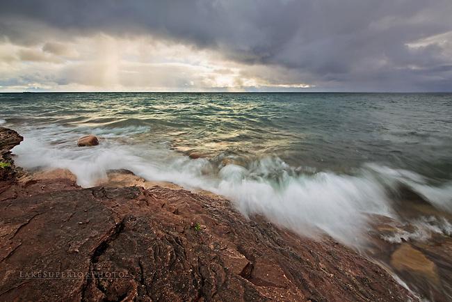Rain squalls and early Autumn Light at the Upper Harbor, Marquette Michigan Presque Isle Lake Superior