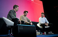 """Matt Stevens & Adam Blythe welcoming Mark Cavendish  on stage<br /> <br /> Rouleur Classic London 2019<br /> """"The World's Finest Road Cycling Exhibition""""<br /> <br /> ©kramon"""