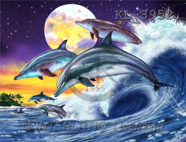Interlitho, Lorenzo, FANTASY, paintings, dolphins, moon, KL, KL3952,#fantasy# illustrations, pinturas