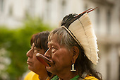 09 June 2014. Kayapo Chiefs Raoni Metuktire and Megaron Txucarramae during their visit to London. The chiefs stand proudly for a portrait in a London park.