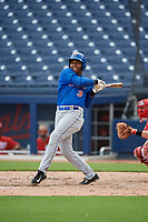 GCL Mets left fielder Edinson Valdez (3) bats during the second game of a doubleheader against the GCL Nationals on July 22, 2017 at The Ballpark of the Palm Beaches in Palm Beach, Florida.  GCL Mets defeated the GCL Nationals 4-1.  (Mike Janes/Four Seam Images)