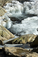 An ice-and-rock-filled creek flows slowly through Avery County, North Carolina, and the Blue Ridge Parkway.