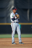 Danville Braves third baseman Juan Morales (1) on defense against the Burlington Royals at Burlington Athletic Stadium on July 13, 2019 in Burlington, North Carolina. The Royals defeated the Braves 5-2. (Brian Westerholt/Four Seam Images)