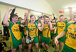 Inagh-Kilnamona players celebrate in their dressing room following their Minor A county final win over Kilmaley at Cusack Park. Photograph by John Kelly.