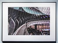 """Framed Size 21""""h x 29""""w, $675.<br /> Graphite Nielsen 15 metal frame"""