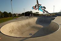 Clinton Johns riding DMR jump bike ,   Hayle skatepark , Cornwall .