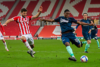 20th March 2021; Bet365 Stadium, Stoke, Staffordshire, England; English Football League Championship Football, Stoke City versus Derby County; Teden Mengi of Derby County takes a shot on goal
