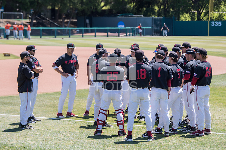 STANFORD, CA - MAY 29: David Esquer, team before a game between Oregon State University and Stanford Baseball at Sunken Diamond on May 29, 2021 in Stanford, California.