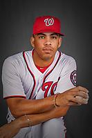 22 February 2019: Washington Nationals infielder Luis Garcia poses for his Photo Day portrait at the Ballpark of the Palm Beaches in West Palm Beach, Florida. Mandatory Credit: Ed Wolfstein Photo *** RAW (NEF) Image File Available ***