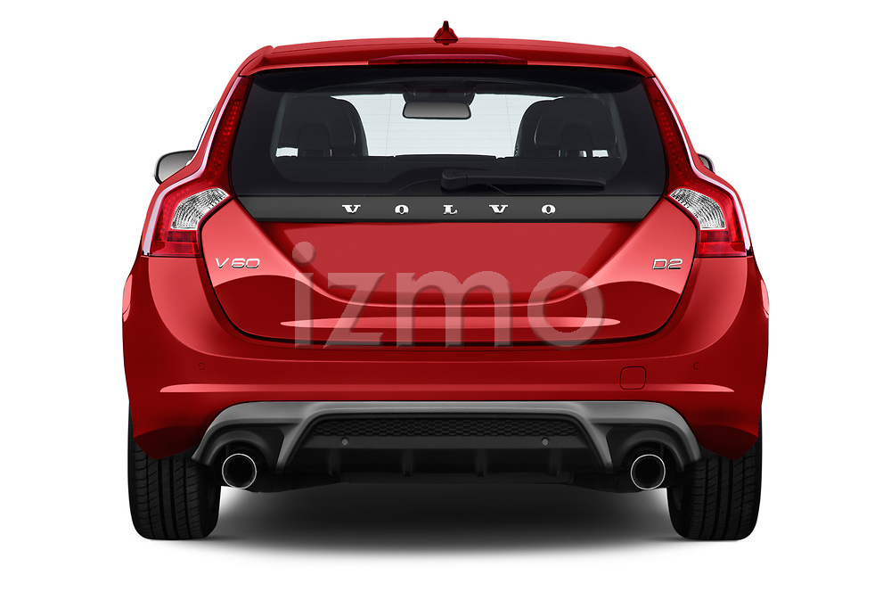 Straight rear view of 2017 Volvo V60 T6-R-Design 5 Door Wagon Rear View  stock images