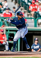 25 February 2019: Atlanta Braves outfielder Justin Dean at bat during a pre-season Spring Training game against the Washington Nationals at Champion Stadium in the ESPN Wide World of Sports Complex in Kissimmee, Florida. The Braves defeated the Nationals 9-4 in Grapefruit League play in what will be their last season at the Disney / ESPN Wide World of Sports complex. Mandatory Credit: Ed Wolfstein Photo *** RAW (NEF) Image File Available ***