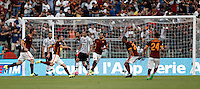 Calcio, Serie A: Roma vs Juventus. Roma, stadio Olimpico, 30 agosto 2015.<br /> Roma's Miralem Pjanic, third from left, celebrates after scoring on a free kick during the Italian Serie A football match between Roma and Juventus at Rome's Olympic stadium, 30 August 2015.<br /> UPDATE IMAGES PRESS/Isabella Bonotto