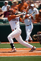 Texas Longhorns first baseman Alex Silver #11 swings during the NCAA baseball game against the Texas A&M Aggies on April 29, 2012 at UFCU Disch-Falk Field in Austin, Texas. The Longhorns beat the Aggies 2-1 in the last ever regular season game scheduled for the long time rivals. (Andrew Woolley / Four Seam Images)