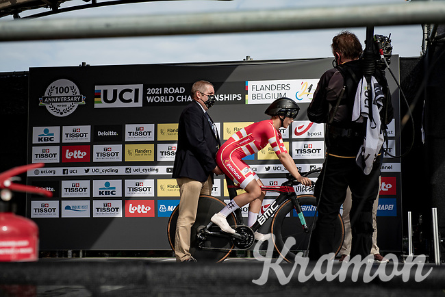 Rebecca Koerner (DEN) at the race start in Knokke-Heist<br /> <br /> Women Elite Individual Time Trial from Knokke-Heist to Bruges (30.3 km)<br /> <br /> UCI Road World Championships - Flanders Belgium 2021<br /> <br /> ©kramon