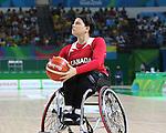 Katie Harnock, Rio 2016 - Wheelchair Basketball // Basketball en fauteuil roulant.<br /> The Canadian women's wheelchair basketball team plays Germany in the preliminaries // L'équipe canadienne féminine de basketball en fauteuil roulant affronte l'Allemagne dans la ronde préliminaire. 11/09/2016.