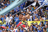 BOGOTA - COLOMBIA-05-05-2013:  Hinchas  de Milonarios durante el partido  Millonarios contra Pariotas a los cuales vencieron cuatro goles por uno en el  estadio El Campín  ,partido correspondiente a la fecha catorce de La lLiga Postobón I . Milonarios fans during the game against Pariotas Millionaire which won the four goals by one at El Campin game in the fourteenth day of the Liga Postobón I.(Foto: VizzorImage / Felipe Caicedo / Staff).