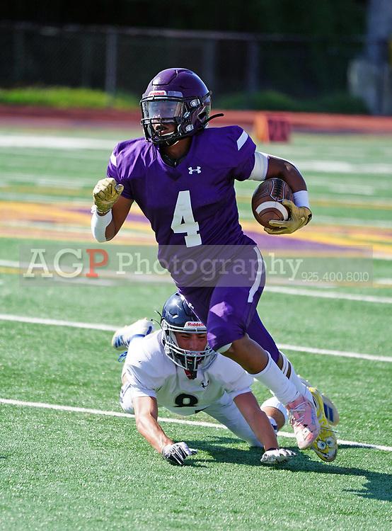 Amador Valley High School Junior Varsity player Miles Tucker, in action against Acalanes in Pleasanton, CA April 10, 2021. (Photo by Alan Greth / AGP Sports)