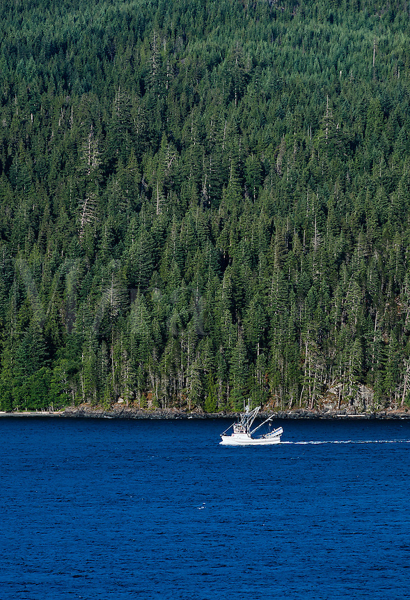 Commercial fishing boat in Discovery Passage, Strathcona, British Columbia, Canada
