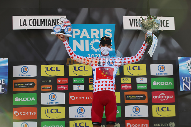 Anthony Perez (FRA) retains the Polka Dot Jersey at the end of Stage 7 of Paris-Nice 2021, running 119.2km from Le Broc to Valdeblore La Colmiane, France. 13th March 2021.<br /> Picture: ASO/Fabien Boukla | Cyclefile<br /> <br /> All photos usage must carry mandatory copyright credit (© Cyclefile | ASO/Fabien Boukla)