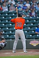 Kyle Tucker (30) of the Buies Creek Astros at bat against the Winston-Salem Dash at BB&T Ballpark on April 13, 2017 in Winston-Salem, North Carolina.  The Dash defeated the Astros 7-1.  (Brian Westerholt/Four Seam Images)