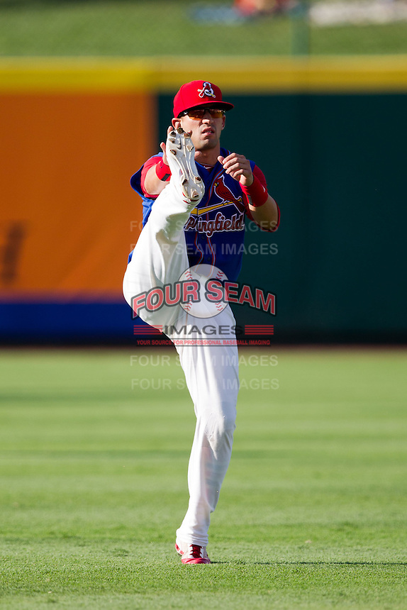 Jose Garcia (3) of the Springfield Cardinals warms up prior to a game against the Corpus Christi Hooks at Hammons Field on August 13, 2011 in Springfield, Missouri. Springfield defeated Corpus Christi 8-7. (David Welker / Four Seam Images)