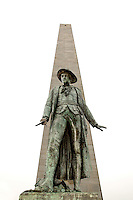American Colonel William Prescott statue in front of Boston's Bunker Hill Monument is the site of the first major battle of the American Revolution.