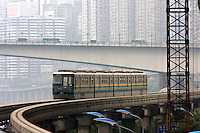 The monorail and the traffic network in Chongqing, China. As the first urban monorail introduced in China, the Chongqing monorail was opened to the public on June 18th, 2005..10 Apr 2008