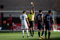 ZAPOPAN, MEXICO - MARCH 21: Jesus Ferreira #9 of the United States is shown yellow by referee Daneon Parchment during a game between Dominican Republic and USMNT U-23 at Estadio Akron on March 21, 2021 in Zapopan, Mexico.