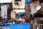 Mumbai, India<br /> Bandra area slums - happy families as two brothers play somewhat dangerous on the corrugated roof covered in tarpaulins. Upstairs dad cleans his teeth.<br /> <br /> Picture by Gavin Rodgers/ Pixel8000<br />  07917221968