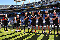 San Diego, CA - Sunday January 29, 2017: Bruce Arena, Dave Sarachan, Pat Noonan, Kenny Arena, Matt Reis, Richie Williams prior to an international friendly between the men's national teams of the United States (USA) and Serbia (SRB) at Qualcomm Stadium.