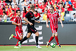 Bayern Munich Midfielder Franck Ribery (R) plays against AC Milan Defender Ignazio Abate (C) during the 2017 International Champions Cup China  match between FC Bayern and AC Milan at Universiade Sports Centre Stadium on July 22, 2017 in Shenzhen, China. Photo by Marcio Rodrigo Machado / Power Sport Images