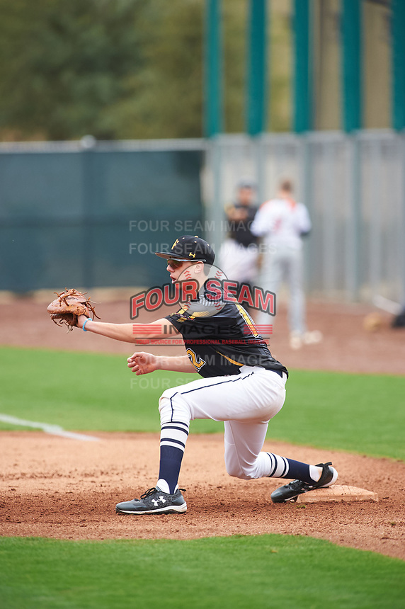 Sage Pera (12) of Mission College Prep High School in Templeton, California during the Under Armour All-American Pre-Season Tournament presented by Baseball Factory on January 15, 2017 at Sloan Park in Mesa, Arizona.  (Zac Lucy/MJP/Four Seam Images)